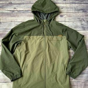 Voyager Green Mens Hooded Windbreaker Jacket XL